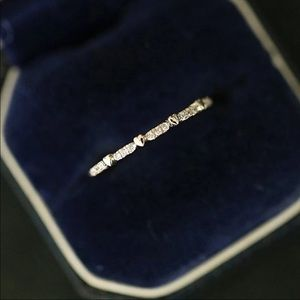 Delicate Thin Light Yellow Gold CZ Ring